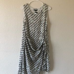 Mossimo White Black Polka Dot Faux Wrap Dress